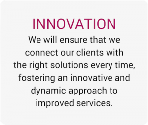 We will ensure that we connect our clients with the right solutions every time, fostering an innovative and dynamic approach to improved services.